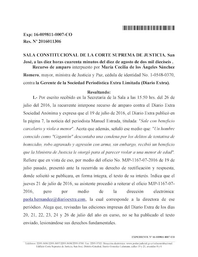 SALA CONSTITUCIONAL CONDENA DE DIARIO EXTRA POR INFORMACIONES FALSAS ATRIBUIDAS A MINISTRA DE JUSTICIA Y PAZ