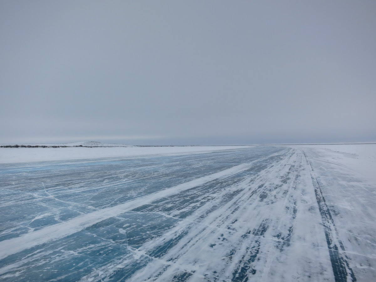 And empty ice road to Tuk