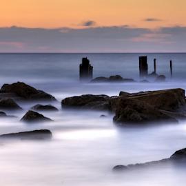sunset by Yuval Shlomo - Nature Up Close Rock & Stone ( sunrise, ocean, rocks, sunset, sun, summer, sea, stone )