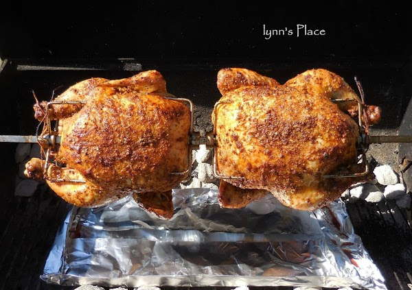 OR roast a whole chicken using the rotisserie rod with prongs.  Season chicken...