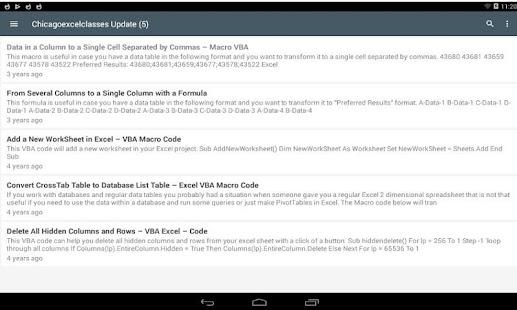 Chicago Excel Classes, Aplikacije na Google Playu