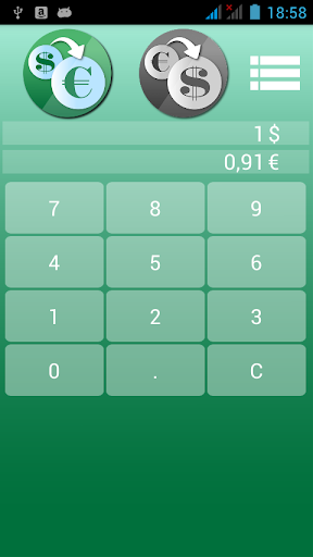 美元对欧元的货币转换器。
