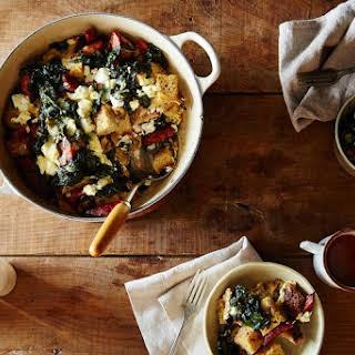 Mushroom, Kale, and Sausage Strata.