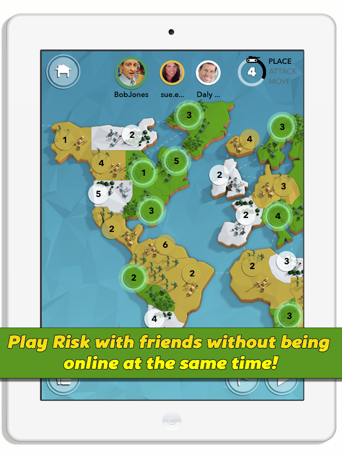 Attack Your Friends, Risk game- screenshot