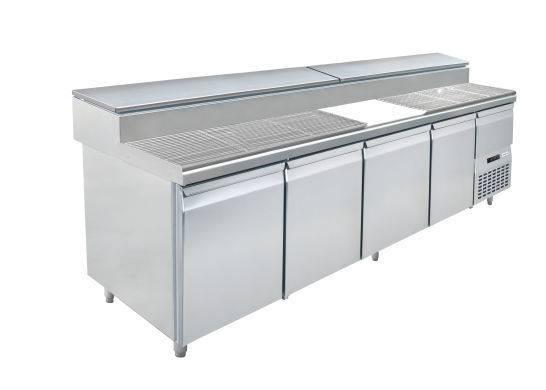Fastfood tafels S1-2490 4 - DEURS PIZZA TAFEL - MET INGEBOUWDE GEKOELDE SALADETTE
