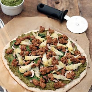 Paleo Artichoke Pesto and Sausage Pizza