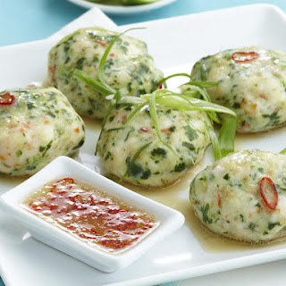 Steamed Shrimp Cakes with Dipping Sauce.