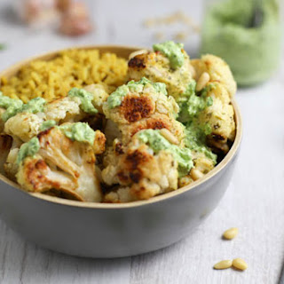 Marinated Roasted Cauliflower With Herby Yogurt Sauce.