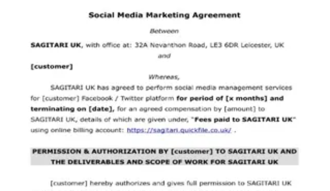 Social Media Manager Contract