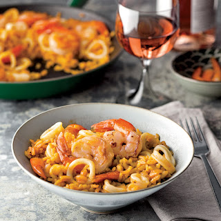 Smoky Paella with Shrimp and Squid.