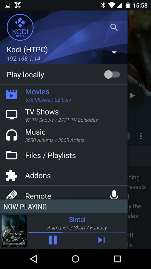 Yatse, the Kodi / XBMC Remote – Screenshot