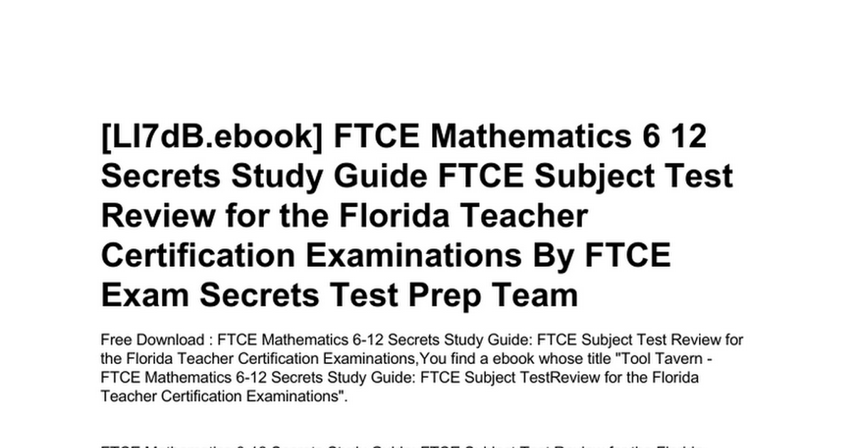Ftce Mathematics 6 12 Secrets Study Guide Ftce Subject Test Review