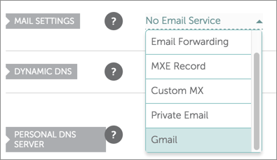 Gmail is selected on the Mail Settings drop-down list.