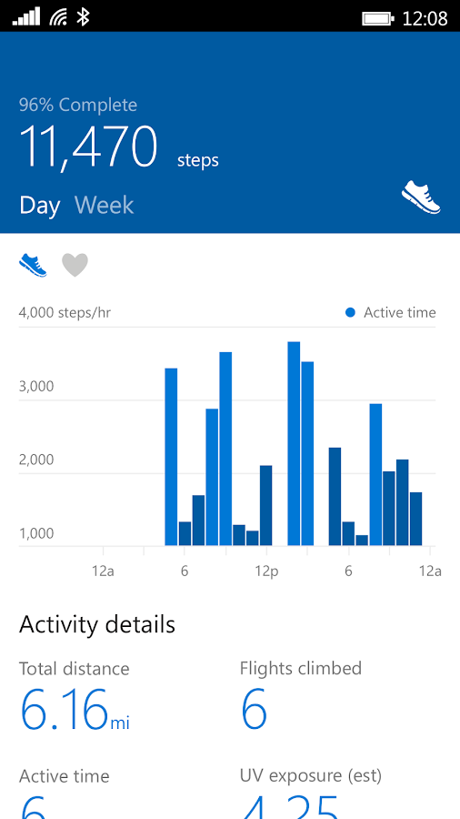 Screenshots of Microsoft Health for Android