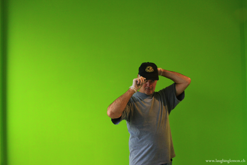 Photo: In front of the green wall...