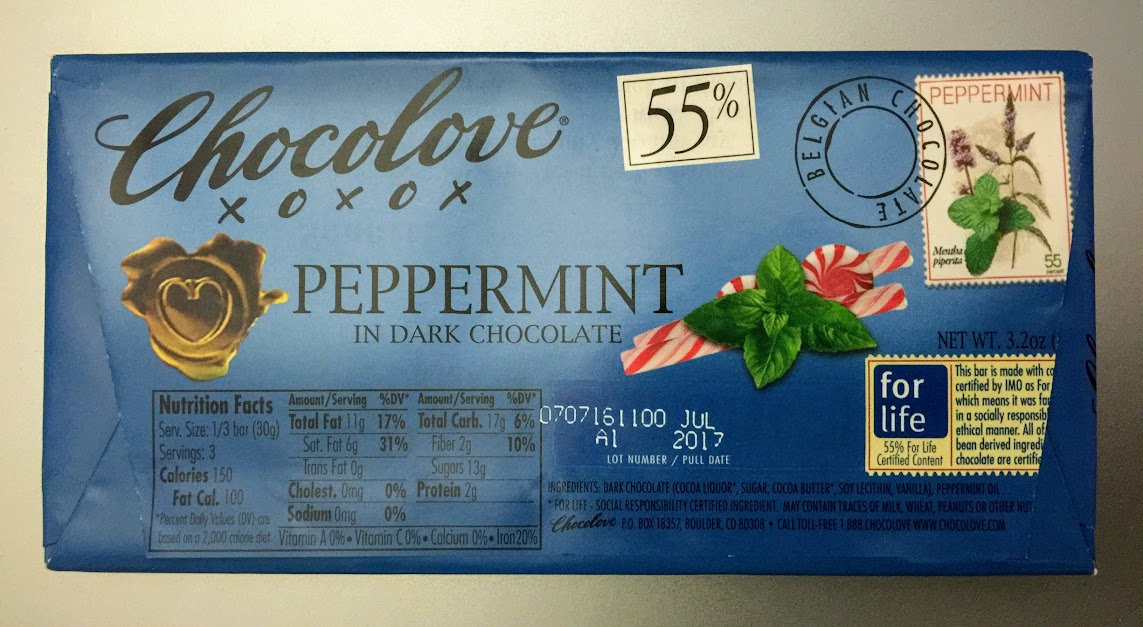 55% peppermint chocolove bar back
