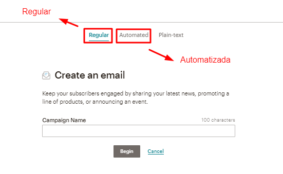 opções de campanha de email padrão ou automatizada