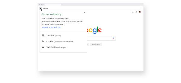 Ein Browserfenster mit Informationen zu HTTPS