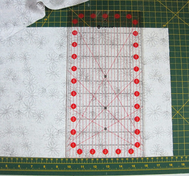 """Photo: Divide each of the 5 fat quarters in half along the short axis, and square it up to 18"""" by 10.5"""""""