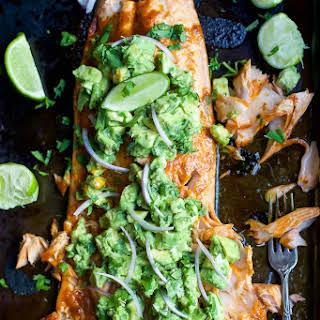 Spice Rubbed Salmon with Avocado Salsa.