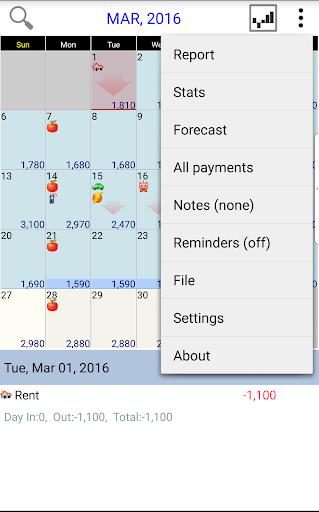 Budget Calendar screenshot
