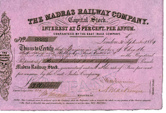 Photo: Madras Railway company - Capital stock document