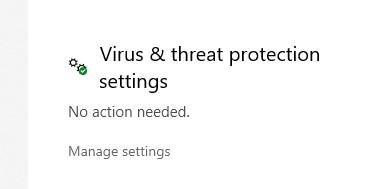 Virus & Threat Protection options