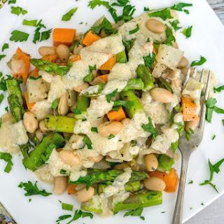 Vegetable White Bean Hash with Lemon Tahini Sauce.