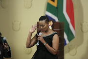 Stella Ndabeni-Abrahams is sworn in at the Union Buildings in Pretoria on Thursday.