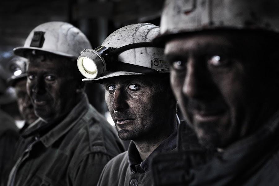 Black coal miners by Miodrag Stojanovic - People Portraits of Men