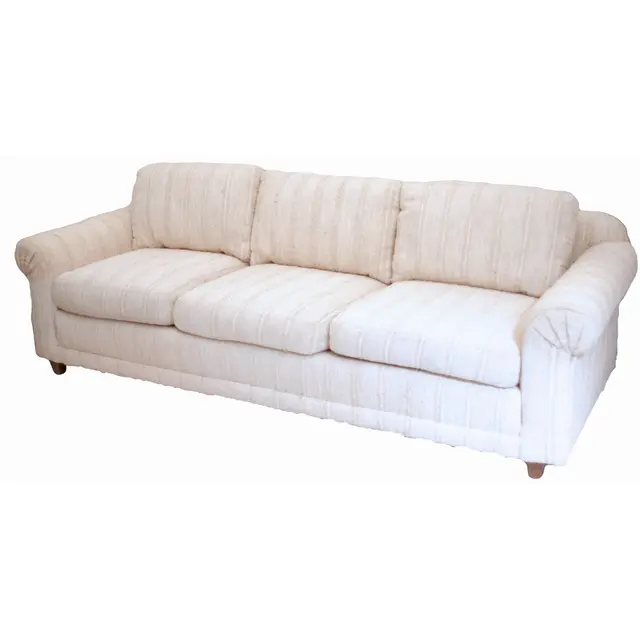 couch with white cotton upholstery