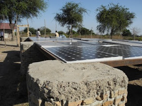 Photo: A view across the mounted solar panels at Thiou School.