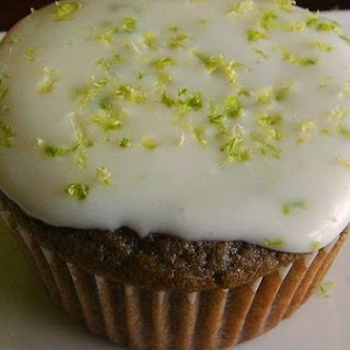 Raspberry Lime Cupcakes With Lime Icing.