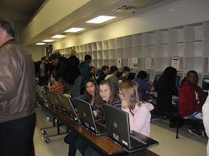Photo: Some of the Akimel A-al Junior High students enjoying NASA slideshos on their laptops