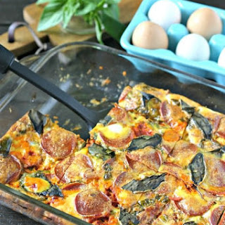 Pepperoni Pizza Egg Casserole (Dairy Free).