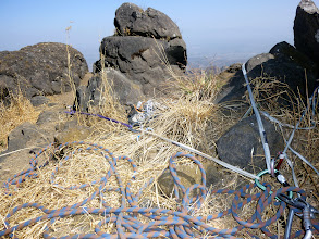 Photo: Three-point anchor made from two cam placements on the right and a peg driven into the ground on the left that was the first ascensionists single anchor. Our exit was obviously different from the first ascent.