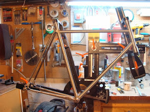 Photo: All the tubes are mitered, one final fitup before I tack the frame.