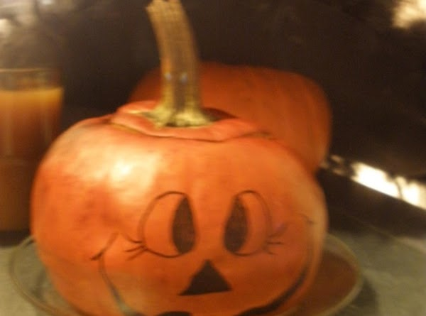 bake at 350 degree oven for 1-2 hours or until meat of the pumpkin...