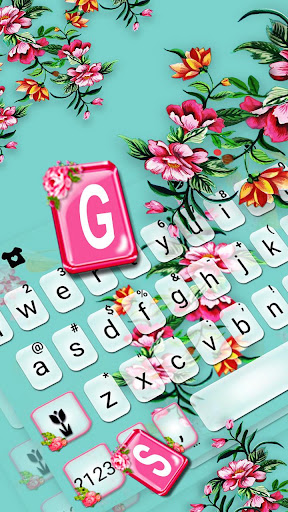 Summer Time Flowers Keyboard Theme screenshots 2