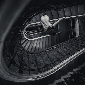 staircase road to life by FIWAT Photography - Nudes & Boudoir Artistic Nude ( stairs, nude, girl, black and white, artistic )