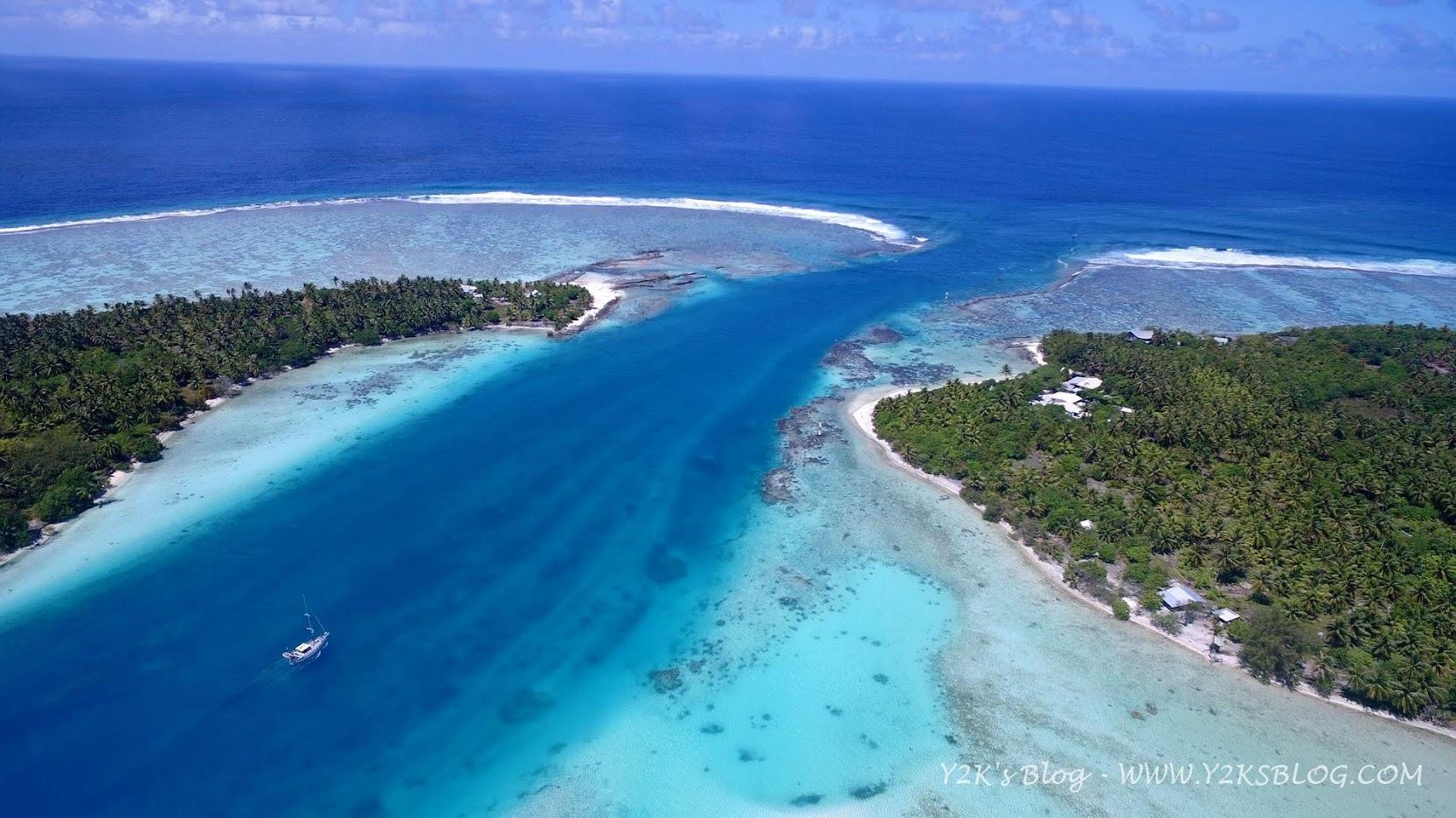 Drone View: la pass e Rebell che guadagna l'uscita - Maupiti