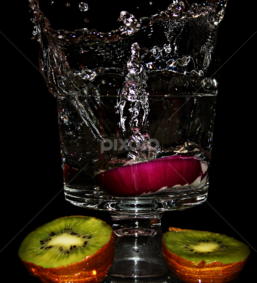 Splashing fruits. by Dipali S - Food & Drink Fruits & Vegetables ( water, fruit, splash, food, kiwi, rings, onion )