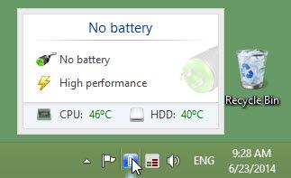 BatteryCare memantau suhu CPU dan hard disk/HDD