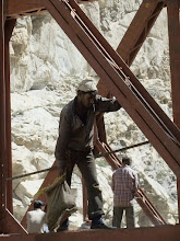 Photo: a new, bigger bridge being built at khab, where the sutlej and spiti meet...