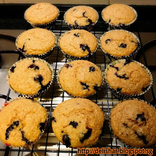 Wholemeal Blueberry Buttermilk Muffins