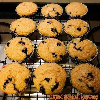 Wholemeal Blueberry Buttermilk Muffins.
