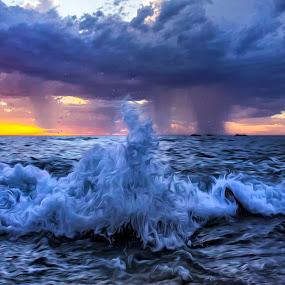 Sunset coast by Loredana  Smith - Landscapes Sunsets & Sunrises ( shore · australian · tropical · solitude · ocean · beach · beauty delete travel · landscape · coastline · romance · escape · coast · sun · tranquil · sky · nature · idyllic · surf · climate · water · sand · seashore · waves · sea · leisure · tourism · seascape · relaxation · vacations · paradise · coastal · tourist · color · sunset · serene · australia · scene · view · )
