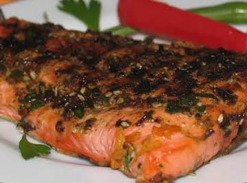 Grilled Fillet of Salmon with Summer Squash