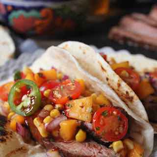 "Fiery Barbecue Flank Steak Tacos with ""Summer Mess"" Salsa"