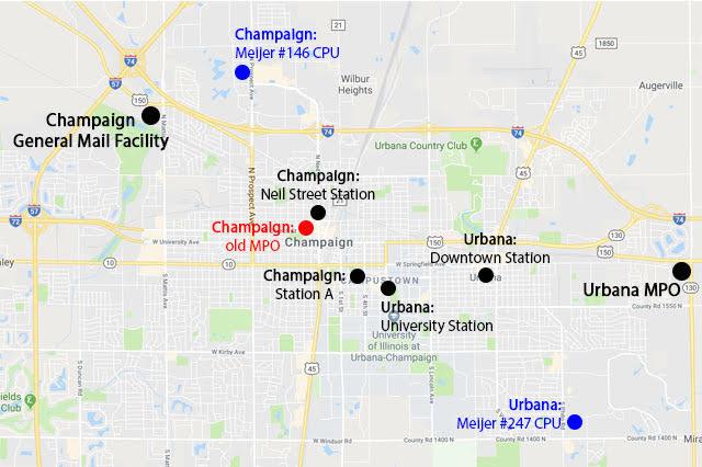 Champaign-Urbana postal map